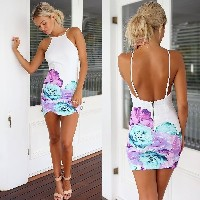 SG Sexy Fashion Women Mini Dress Flower Print Backless Zipper Bodycon Party Dress White