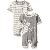 Burts Bees Baby Baby Set Of 2 Organic Stripe and Bee Graphic Shortalls  Heather Grey  New Born