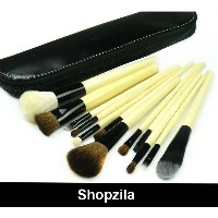 High Grade BB 12 pcs Pro Make Up Cosmetic Brush Set w Leather Pouch Case