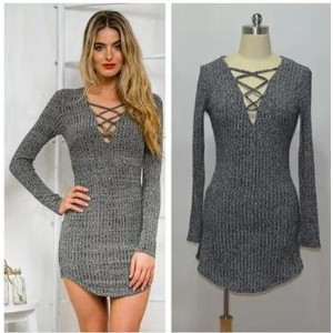 Europe and the United States foreign trade deep V cross straps knit sexy Slim package hip dress