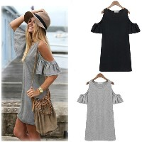 New Fashion Women Summer Dress Off Shoulder Butterfly Sleeve Mini Dress T-shirt Dress Black/Grey