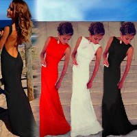 Womens Sexy Backless Prom Ball Gown Wedding Long Evening Party Dress