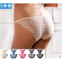 5 color boxed lace panties female temptation transparent sexy low waist briefs Seamless female_hot...