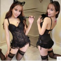 Transparent lace vest stockings tight cat cat lingerie underwear small chest code uniform extremely...