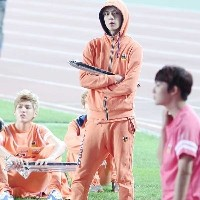 EXO - PANCOAT POP EYES 2TONE SETUP HOODY ZIPUP ORANGE [I-dol FIELD  TRACK GAME)