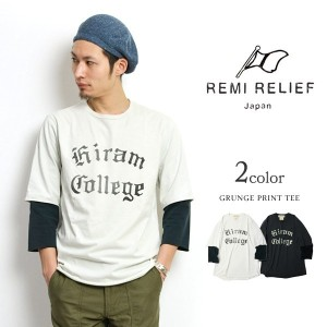 REMI RELIEF(レミレリーフ) 度詰め天竺 グランジ7分袖プリントT(ロゴ) / メンズ / プリント / 日本製 / GRUNGE PRINT TEE