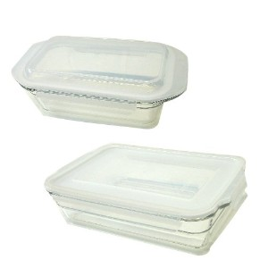 lasslock Tempered Glass Bakeware Set グラスロック 強化ガラス製フードコンテナ2個セット