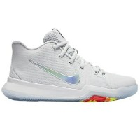 "Nike Kyrie 3 ""Time to Shine"" キッズ/レディース Pure Platinum/Multi-Color/Volt ナイキ Kyrie Irving カイリー・アービング..."