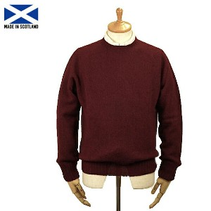 Harley of Scotland 【ハーレー・オブ・スコットランド】M2474/7 Men's Saddle Shoulder Crew Neck Sweater Bordeaux Mix...