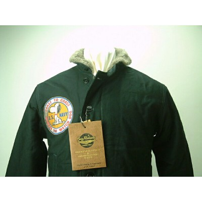 "BUZZ RICKSON'S x PEANUTS (バズリクソンズ x ピーナッツ)USN N-1 NAVY DECK JACKET ""NAVY DEPARTMENT""SNOOPY..."