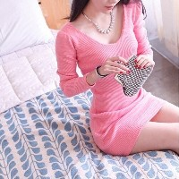 Ladies Dresses New Arrival 2015 Spring Fashion Casual Pink Black Knitted Sexy V-neck Long Sleeve Wom