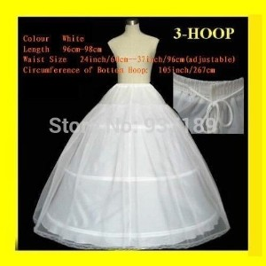 2015 Hot Sale 3 Hoop Ball Gown Bone Full Crinoline Petticoats For Wedding Dress Wedding Skirt Access