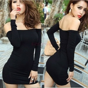 New Women Off Shoulder Stretch Tunic Tight Fitted Club wear Party Sexy Mini Dress Black Vestidos 295