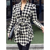 Korean Style Womens Long Sleeves Fashion Swallow Gird Coat One Size FZ75390-30 (Size: M)