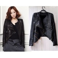 New Korean Women Short Slim leather jacket motorcycle clothing PU leather jacket zipper cool black j