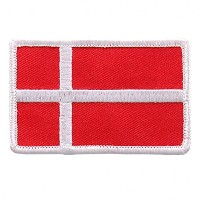 "Embroidered DANISH Flag PATCH, Iron-On / Sew-On - 3"" x 2"""