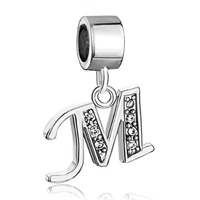 Pugster Silver Plated Letter Initial A-Z Dangle Alphabet Crystal Bead Fits Charms Bracelet (Letter...