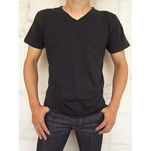 Nudie Jeans(ヌーディー ジーンズ)【BACKBONE】ORGANICV-NECK T-SHIRT★BLACK★