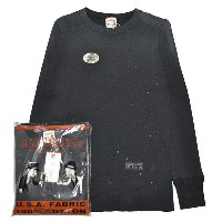 GLADHAND-10 USED WAFFLE L/S T-SHIRTS/BLACK/パックT/ヴィンテージ加工/ワッフル/クルーネック/長袖/Tシャツ【GANGSTERVILLE...