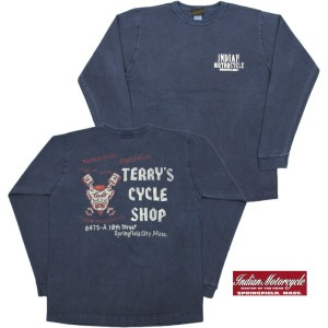 "INDIAN MOTORCYCLE/インディアンモーターサイクル L/S T-SHIRT""TERRY'S CYCLE SHOP"" 長袖バックプリントTシャツ NAVY(ネイビー)/IM66820..."