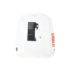 NO BRAND SCARFACE L/S T-SHIRTS (WHITE)ロングTシャツ/白