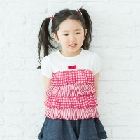 【3can4on(Kids) (サンカンシオン)】プリントティアード半袖カットソーキッズ トップス|カットソー・Tシャツ ピンク系