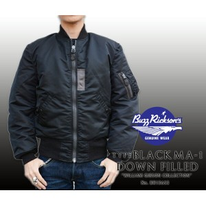 "【BUZZ RICKSON'S バズリクソンズ】ジャケット/BR13653 BLACK MA-1 DOWN FILLED""WILLIAM GIBSON COLLECTION"" BLACK★REAL..."