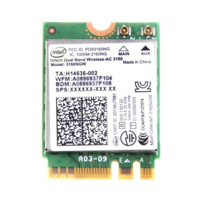 インテル Intel Dual Band Wireless-AC 3160 デュアルバンド 2.4/5GHz 802.11ac 最大433Mbps + Bluetooth 4.0 M.2...