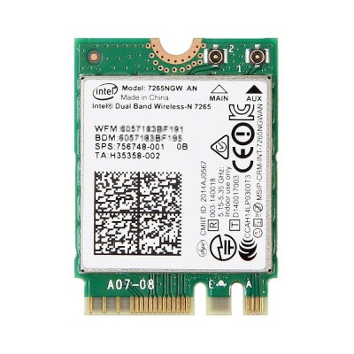 HP純正 756748-001 Intel Dual Band Wireless-N 7265 Dual Band 2x2 802.11a/b/g/n + Bluetooth 4.0 M.2...