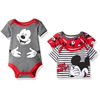 Disney Baby Boys  3 Pack of Mickey Mouse Bodysuits Red 6/9 Months