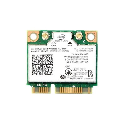 インテル Intel Dual Band Wireless-AC 3160 デュアルバンド 2.4/5GHz 802.11ac 最大433Mbps + Bluetooth 4.0 PCIe Mini...