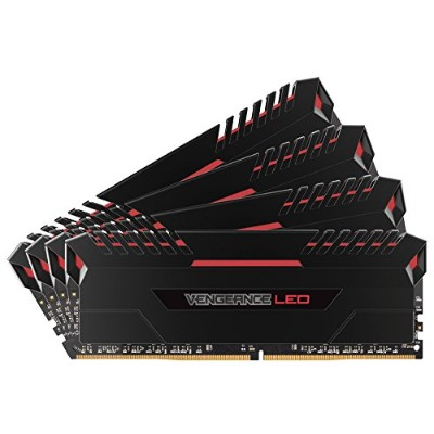 CORSAIR Vengeance Red LED DDR4 2666Mhz 64GB (16GBx4) 288pin UDIMM MM3201 CMU64GX4M4A2666C16R