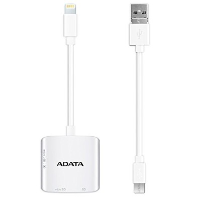 ADATA 3WAY Lightning カードリーダー iOS Android Windows SD,microSD両対応 2年保証 ALRAI910CWH