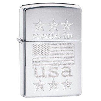 ZIPPO(ジッポ) オイルライター Made In The USA With American flag(アメリカ国旗) ハイポリッシュクローム 29430
