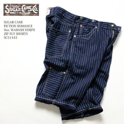 SUGAR CANE シュガーケーン FICTION ROMANCE 9oz. WABASH STRIPE ZIP FLY SHORTS SC51443