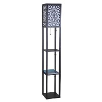 SH Lighting 6958BK-A Wooden Shelf Floor Lamp with Floral Shade Panels, 63H, Black by SH Lighting