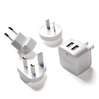 cheero Miracle Charger - 急速充電 3.4A USB 2ポート ACアダプタ ( 充電器 ) 世界140カ国以上対応 各種コンセント用プラグ付き(変圧器不要)