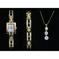 Parture Fashionable Ladies Quartz Watch ABR12-GD necklace & bracelet set 《Made in Japan》