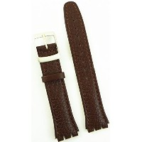 New 17mm (20mm) Sized Genuine Leather Strap Compatible for Swatch® Watch - Brown - 400CC20
