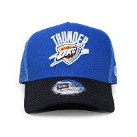 (ニューエラ) NEW ERA OKLAHOMA CITY THUNDER 【NBA D-FRAME TRUCKER MESH CAP/BLUE-NAVY】 オクラホマシティ サンダー