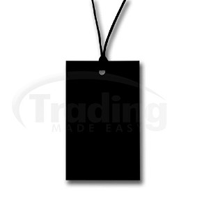 商品タグ紐付き ブラック (100枚) 70mm x 45mm 100 x Plain Black Stringed Card Clothing Tag