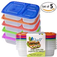 Orgalif BPA-Free 3-compartment Reusable Plastic Bento Lunch Box, Set of 5 by ORGALIF