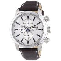 [セイコー]Seiko 腕時計 Sport Silver Dial Black Leather Watch SNAF51 Chronograph メンズ [並行輸入品]