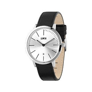 Edwin KENNY Men's 3 Hand-Date Watch, Stainless Steel Case and Black Leather Band