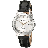 Citizen Women's FE1086-04A Eco-Drive Stainless Steel Watch with Black Leather Band