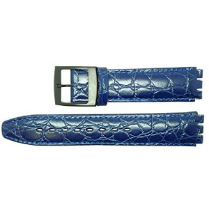 New 17mm (20mm) Sized Genuine Leather Croco Grain Replacement Strap for Swatch® Watch - Blue. …