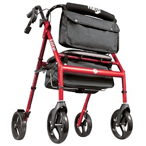 Hugo Mobility 700-961 Elite Rollator Walker with Seat, Backrest and Saddle Bag, Garnet Red [並行輸入品]