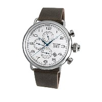 Davis 1931 メンズレトロパイロット·ウォッチ Mens Retro Pilot Watch- White Dial- Day/Date- Dual Timer -Brown Leather...
