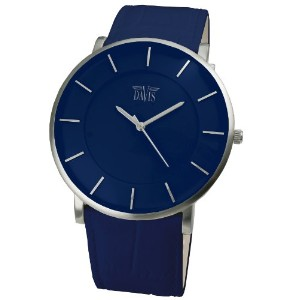Davis 0915 ユニセックスブルーデザイン超薄型ウォッチ Unisex Blue Design Ultra thin case Blue Leather strap watch