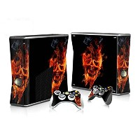 XBOX 360 Slim Skin Design Foils Faceplate Set - Burning Skull Design